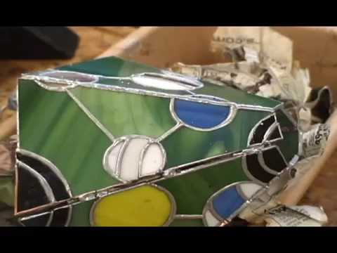 Soldering & Constructing a Small Stained Glass Panel Lampshade