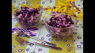 Салат гарнир из краснокочанной капусты и риса. Диетические блюда
