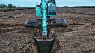 Video still for V Bucket Trenching With Kobelco SK140 Excavator
