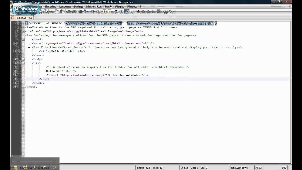 Xhtml video tutorial youtube.