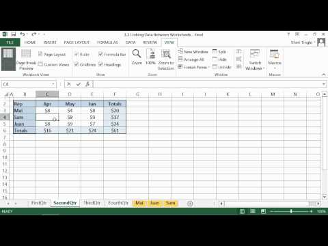 Microsoft Office Excel 2013 Tutorial: Linking Data Between Worksheets | K Alliance