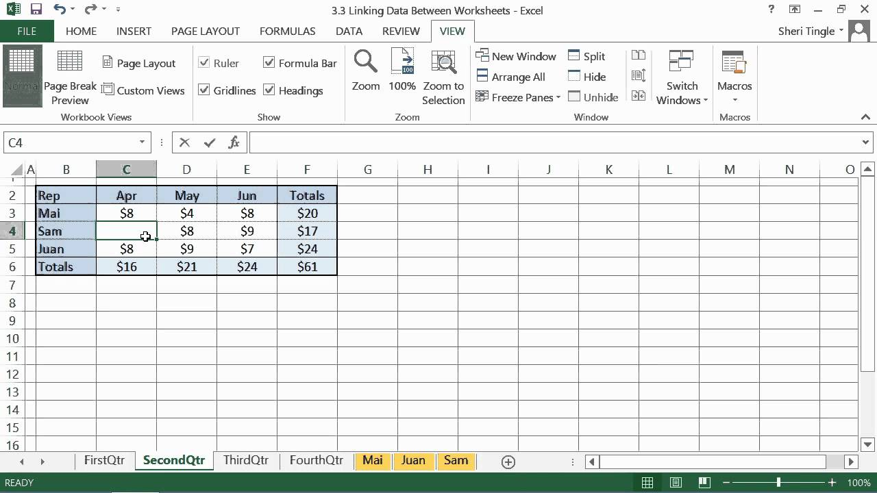 Microsoft Office Excel 2013 Tutorial: Linking Data Between ...