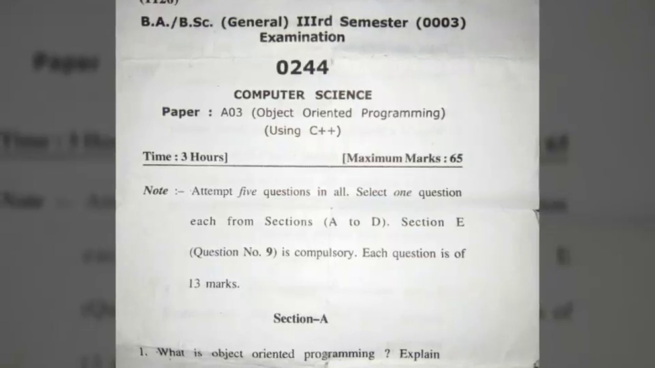 Object Oriented Programming Using C++ || Question Paper || Computer Science