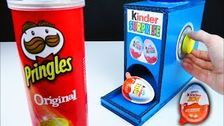 How to make Kinder Surprise Eggs Vending Machine Dispenser Using Pringles Original