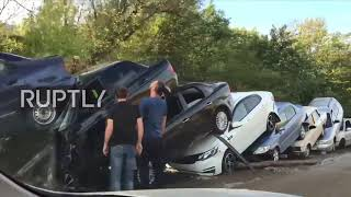 Russia: Sudak witnesses vehicle pile-ups and road damage after mudflow