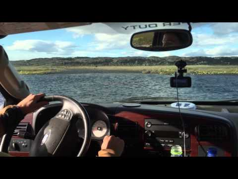 Iceland Highlands River Crossing in a F350 diesel / camper Norourland Eystra