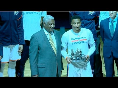 Russell Westbrook Pre Game Recognition w/ Oscar Robertson