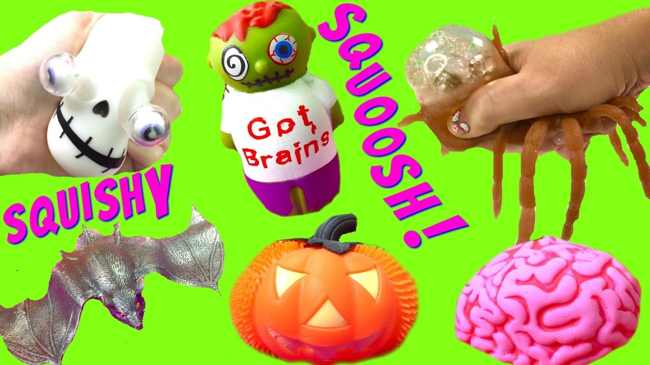 Halloween Mashems are Super Squishy! Pumpkins, Ghost, Bat and Brains! - YouTube