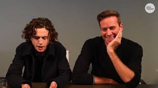 Timothée Chalamet and Armie Hammer discussing Call me by your name USA TODAY