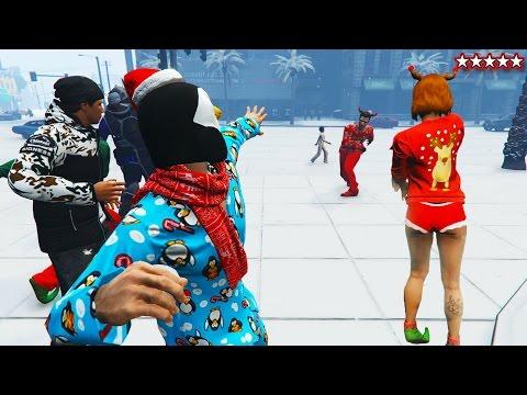 SNOWBALL FIGHT GTA 5 SNOW DLC 2016 - NEW GTA 5 FESTIVE SURPRISE UPDATE (GTA 5 Funny Moments)