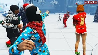 snowball fight gta 5 snow dlc 2016 new gta 5 festive surprise update gta 5 funny moments