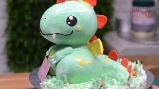 Hướng dẫn làm bánh sinh nhật 3d tạo hình khủng long bạo chúa - How to make 3d dinosaur cake