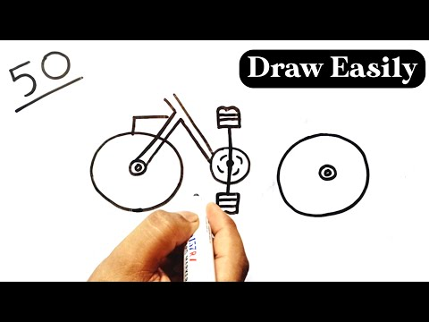 How To Draw Very Easy Bicycle From Number 50 | Bicycle Drawing Easy Step By Step | Drawing Tutorial thumbnail
