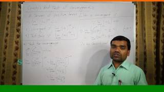 Infinite Series(Part-V) Cauchy's Root Test of Convergence in hindi