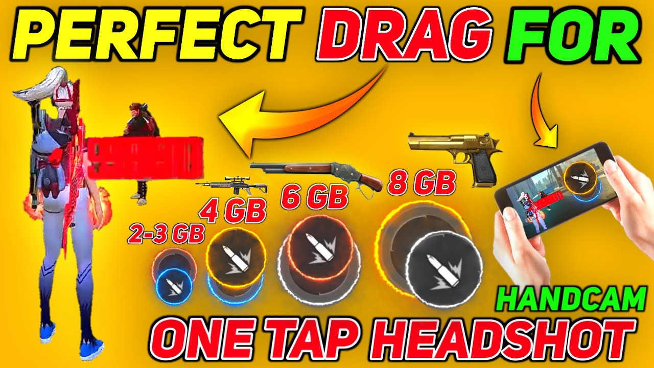 Free Fire Perfect Drag For Headshot 🔥[ Handcam ] New Drag Headshot Trick 2021 👽| Drag One Tap Trick