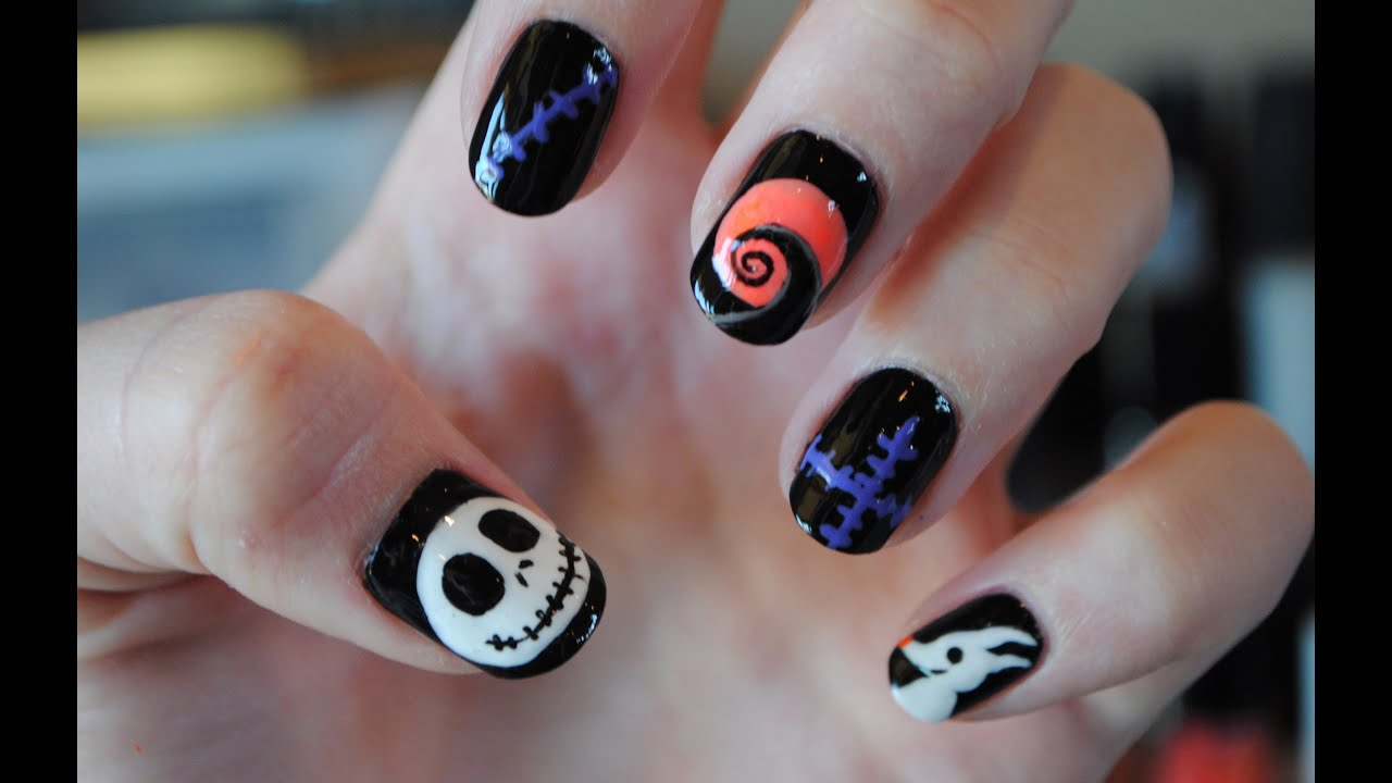 Nightmare before christmas nail tutorial youtube prinsesfo Choice Image