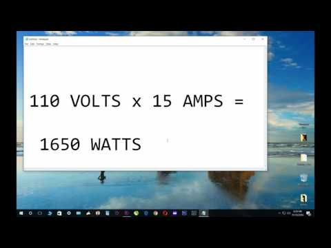 Volts X Amps = Watts formula. 110 x 15 = 1650 example.  Convert volts, amps + watts