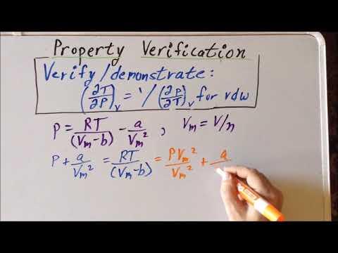 Thermodynamics: partial derivative property verification