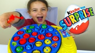 Let's Go Fishing Game and Kinder Surprise Eggs! Fun Activity for Kids Learn color