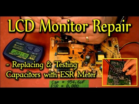 LCD Monitor Repair - Replacing & Testing Capacitors with ESR Meter