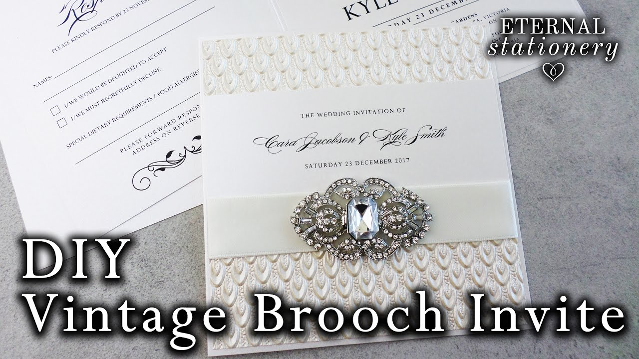 to and make diy elegant brooch invitations wedding watch lace motif how invitation an