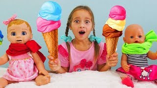 Sofia and Dolls Play with Store ICE CREAM