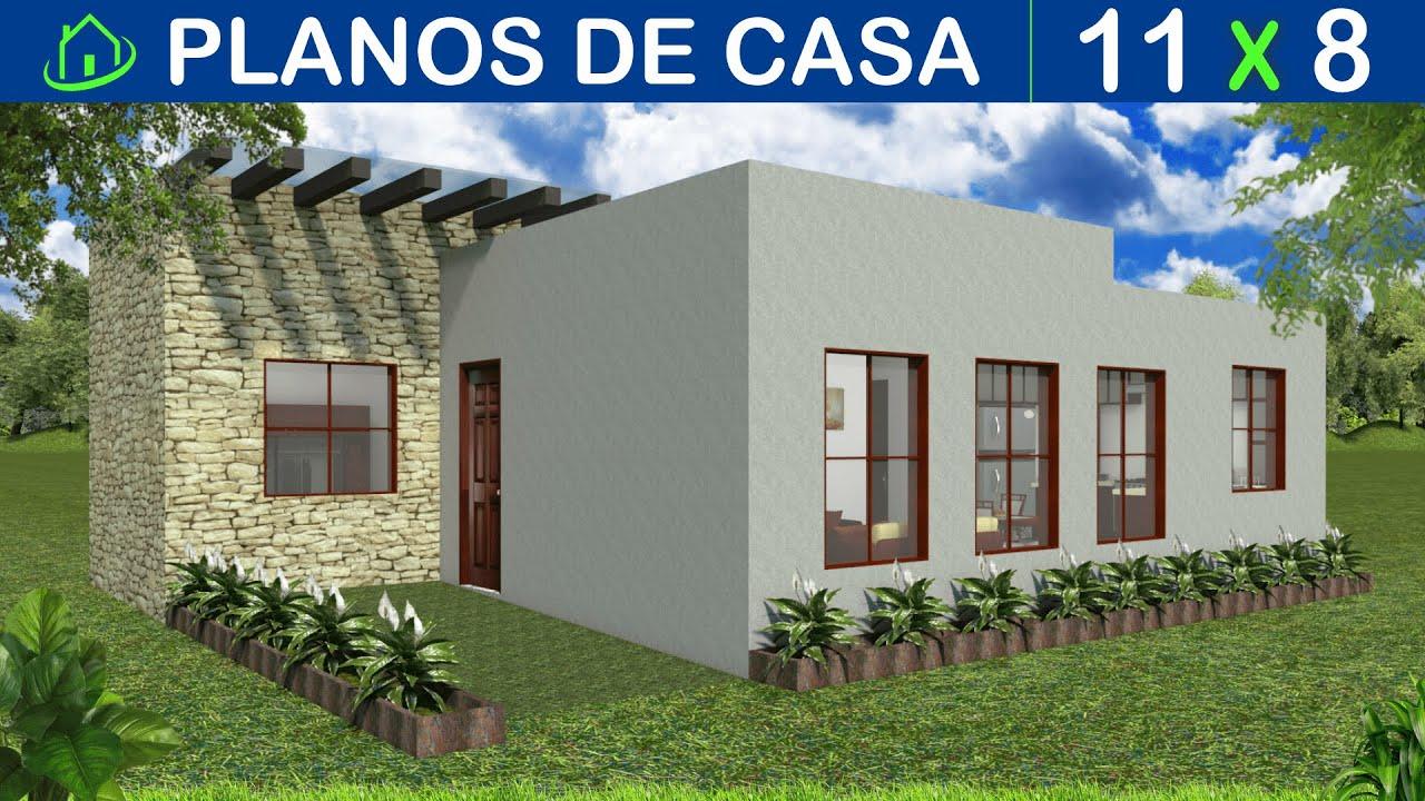 Planos de casa moderna 11 x 8 Mts con 3 dormitorios 1 baño sala comedor cocina estilo americano