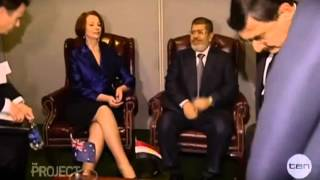 Egyptian President touches his private part on Live TV to impress Julia Gillard