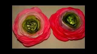 Ранункулюс. Красивый цветок из атласной ленты.  Канзаши(канзаши, канзаши мастер, класса канзаши, канзаши мастер класс, канзаши из лент, канзаш из лент, канзаш цветы,..., 2015-10-23T07:52:04.000Z)