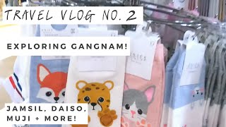 travel vlog day 2 exploring gangnam subway shopping coex mall daiso and muji