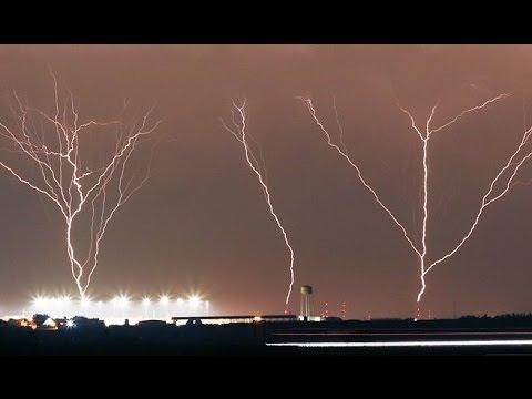 Upward lightning at Oklahoma City tower farm - May 18, 2017