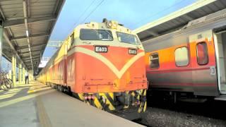 [HD] The Taiwan TRA down Chu-Kuang Express Train No. 525 haul by GE E400 E403 at Qidu Station