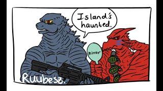 Godzilla KOTM Godzilla and Rodan Visit Scary Skull Island! (Godzilla Comic Dub)
