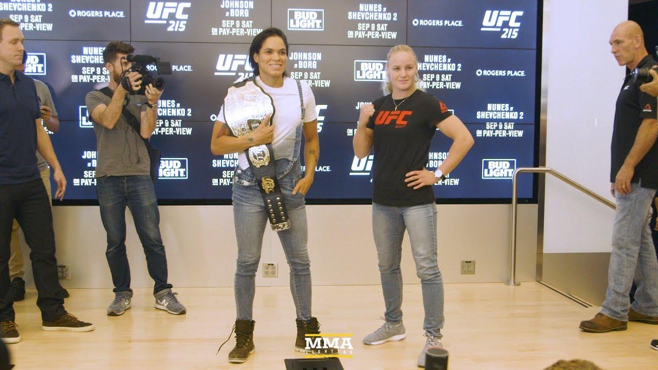 5bf55da81b8 UFC 215  Amanda Nunes vs. Valentina Shevchenko Media Day Staredown ...