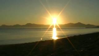 Sun timelapse evening sundown sunset in C'an Picafort, Mallorca / Zeitraffer Sonnenuntergang