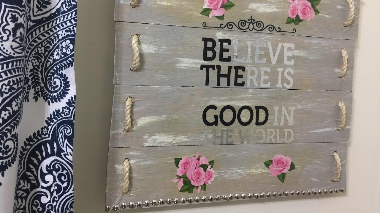 DIY WOODEN WALL ART RUSTIC GLAM HOME DECOR - YouTube