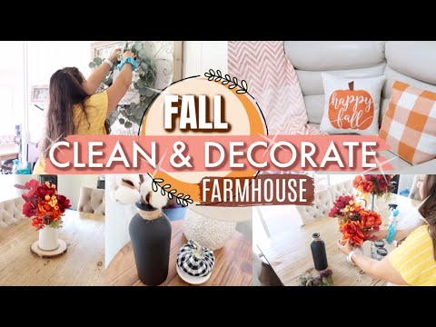 CLEAN & DECORATE WITH ME FOR FALL! | FARMHOUSE FALL DECOR IDEAS | CLEANING MOTIVATION