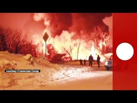 Amateur video of huge flames, smoke as fuel tanks derail in Kirov, Russia