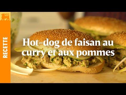 Hot-dog de faisan au curry et aux pommes