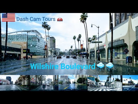 Dash Cam Tours 🚘 Driving On Wilshire Boulevard In The Rain🌧  No Music.