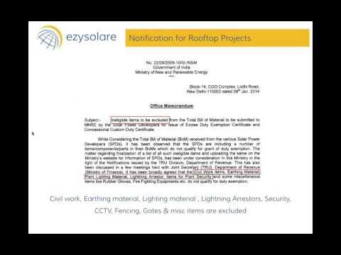 WEBINAR on MNRE Exemption procedure for Rooftop Solar Projects