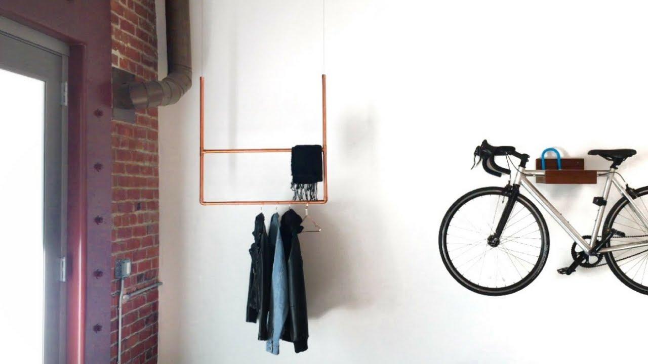floating copper coat rack