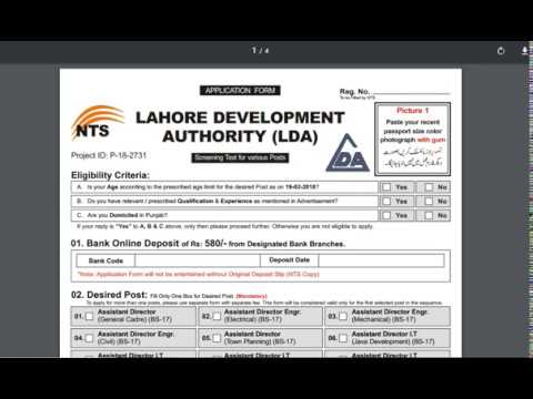 Lahore Development Authority LDA Jobs 2018 NTS Apply Online