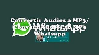 Convertir Audios Whatsapp a MP3 / Convert Whatsapp Audio to MP3