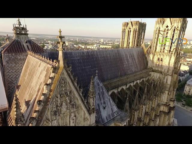 Cathédrale de Reims dans la Marne vue du drone, une vidéo LFVDD