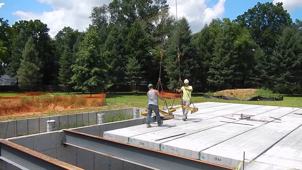 Precast Hollowcore Concrete Planks Installation At