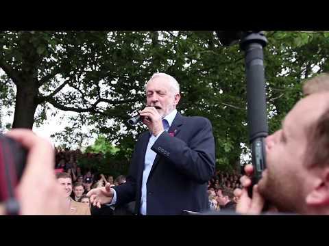 Jeremy Corbyn addresses crowds outside Brudenell Social Club in Burley Park, Leeds