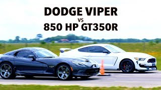 650 HP Dodge Viper vs 850 HP GT350R Mustang Roll Racing