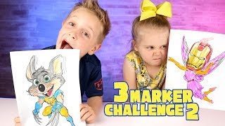 3 Marker Challenge! Chuck E Cheese with Wolverine Claws + Avengers Infinity War!