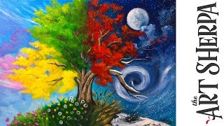 How to paint with Acrylic on Canvas 4 season Tree step by step tutorial thumbnail